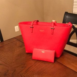 Kate Spade Cherry Red Tote & Matching Wallet